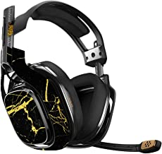MightySkins Skin Compatible with Astro A40 Gaming Headset - Black Gold Marble   Protective, Durable, and Unique Vinyl Decal wrap Cover   Easy to Apply, Remove, and Change Styles   Made in The USA