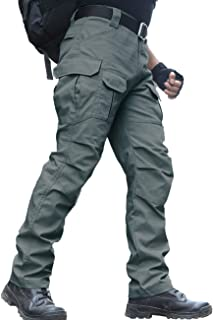 zuoxiangru Men's Water Resistant Trousers Relaxed Fit Tactical Combat Army Cargo Work Pants with Multi Pocket