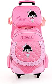 XHHWZB Rolling Backpacks for Girls School Bags with Wheels Wheeled Backpack with Pencil Case Lunch Bag,Pink,Pack of 2