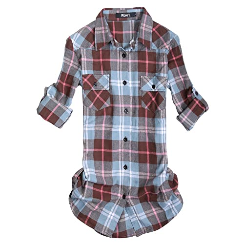 eb5bbb09fea OCHENTA Women s Mid Long Style Roll Up Sleeve Plaid Flannel Shirt C140  Peach Blue Label 2XL
