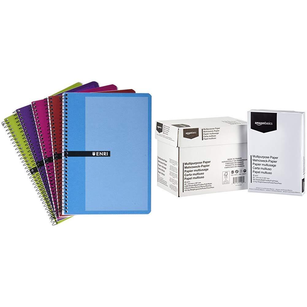 Enri 100430081 - Pack de 5 cuadernos espiral, tapa dura, A5 & AmazonBasics Papel multiusos para impresora A4 80gsm, 5x500 hojas, blanco: Amazon.es: Oficina y papelería