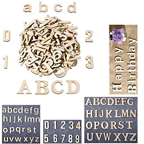 Madera letra mayúscula, madera Minúsculas letras, números de madera para artes manualidades decoración DIY pantalla pantallas, DIY boda Decor (62piezas)