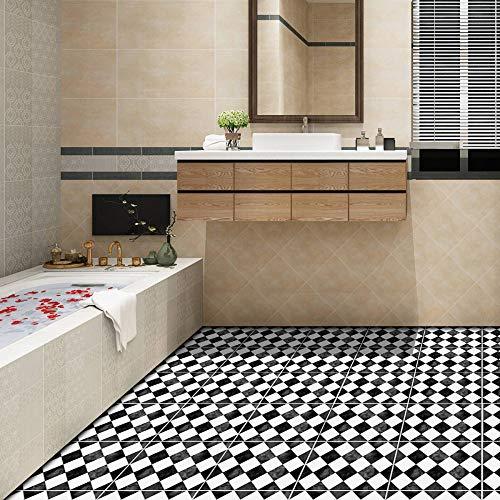 XOSHX 10 stuks * 20 cm * 20 cm, zwart-wit rooster tegelstickers, woonkamer/keuken/badkamer, waterdicht verwijderbaar, muursticker