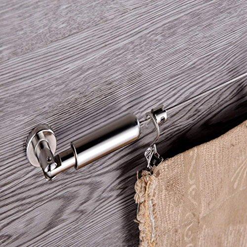 Leisuretime Cortina de Alambre de Acero Inoxidable Pinza Clips Net Cortina Tieback Rod Set Foto Imagen Colgando 5 Metros