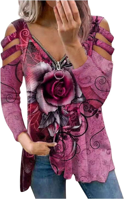 iQKA Women Cold Shoulder Long Sleeve Zipper V-Neck Tops Floral Print Flowy Shirt Blouse Casual Loose Tunics