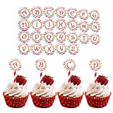 26 Pcs Round Letter Cupcake Toppers Food Pick DIY Birthday Cake Topper