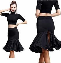 Latin Dance Skirt Professional Classic Swing Rumba Chacha Ballroom Costume Fishbone Back Split Skirt Black