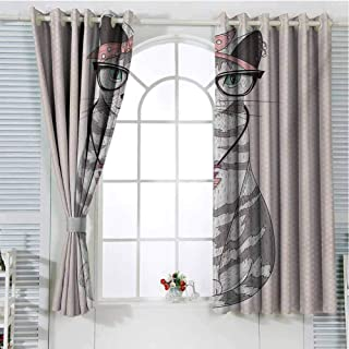 Mozenou Teen Room Sliding Lock Ring Curtain Stylish Kitty Cat with Glasses Tribal Necklace Clasp Fashion Design Print Insulating Room Darkening Blackout Drapes for Bedroom 63