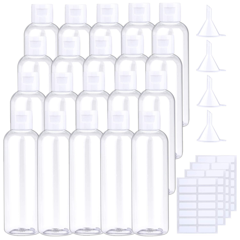 URATOT 20 Pieces 120 ml Clear Flip Cap Bottles Transparent Bottles Cosmetic Bottles Plastic Travel Bottles with Small…
