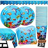102 Piece Under The Sea Party Supplies Set Including Banner, Plates, Cups, Napkins, and Tablecloth, Serves 25
