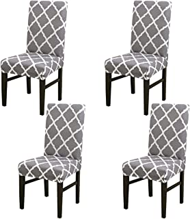 MIFXIN Chair Cover Set High Back Chair Protective Cover Slipcover Universal Stretch Elastic Chair Protector Seat Covers for Dining Room Wedding Banquet Party Decoration (Gray+White, 4 Pcs)