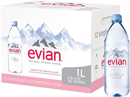 Evian Natural Spring Water (One Case of 12 Individual Bottles, each bottle is 1 liter) Naturally Filtered Spring Water in Large Bottles