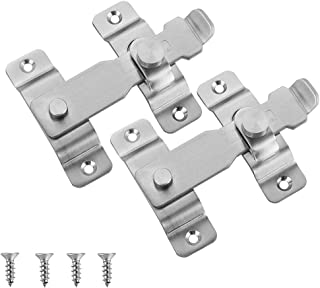 JQK Flip Door Latch, Heavy Duty Stainless Steel Bar Gate Latches Safety Door Lock, Brushed Finish (2 Pack), DL140-BN-P2