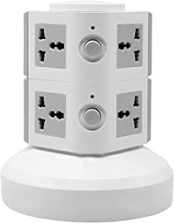 Universal Vertical Multi Socket 220V Electrical Tower Extension Outlet with USB Ports 3M Cord and UK-Plug Power Strip Mult...