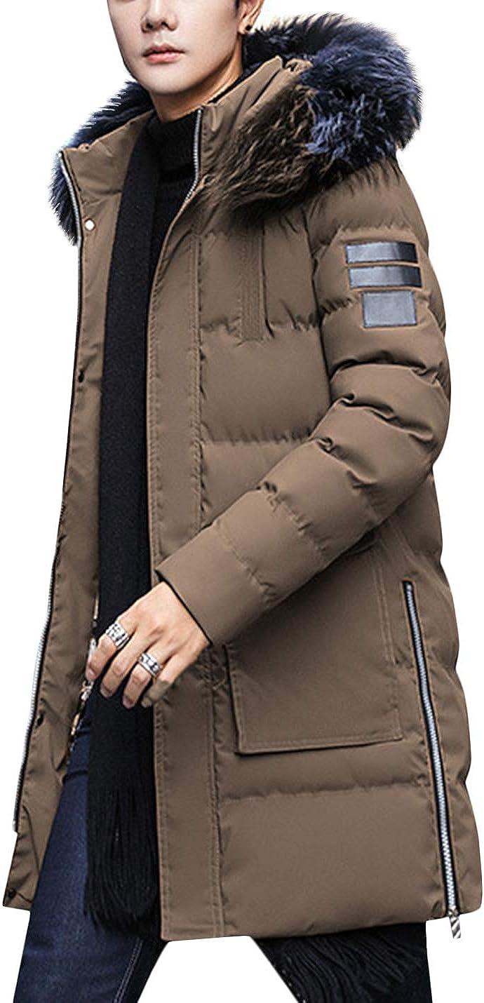 Springrain Men's Winter Fur Hood Long Puffer Jacket Winderbreaker Parka Coat