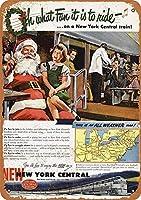 New York Central Christmas Train ティンサイン ポスター ン サイン プレート ブリキ看板 ホーム バーために