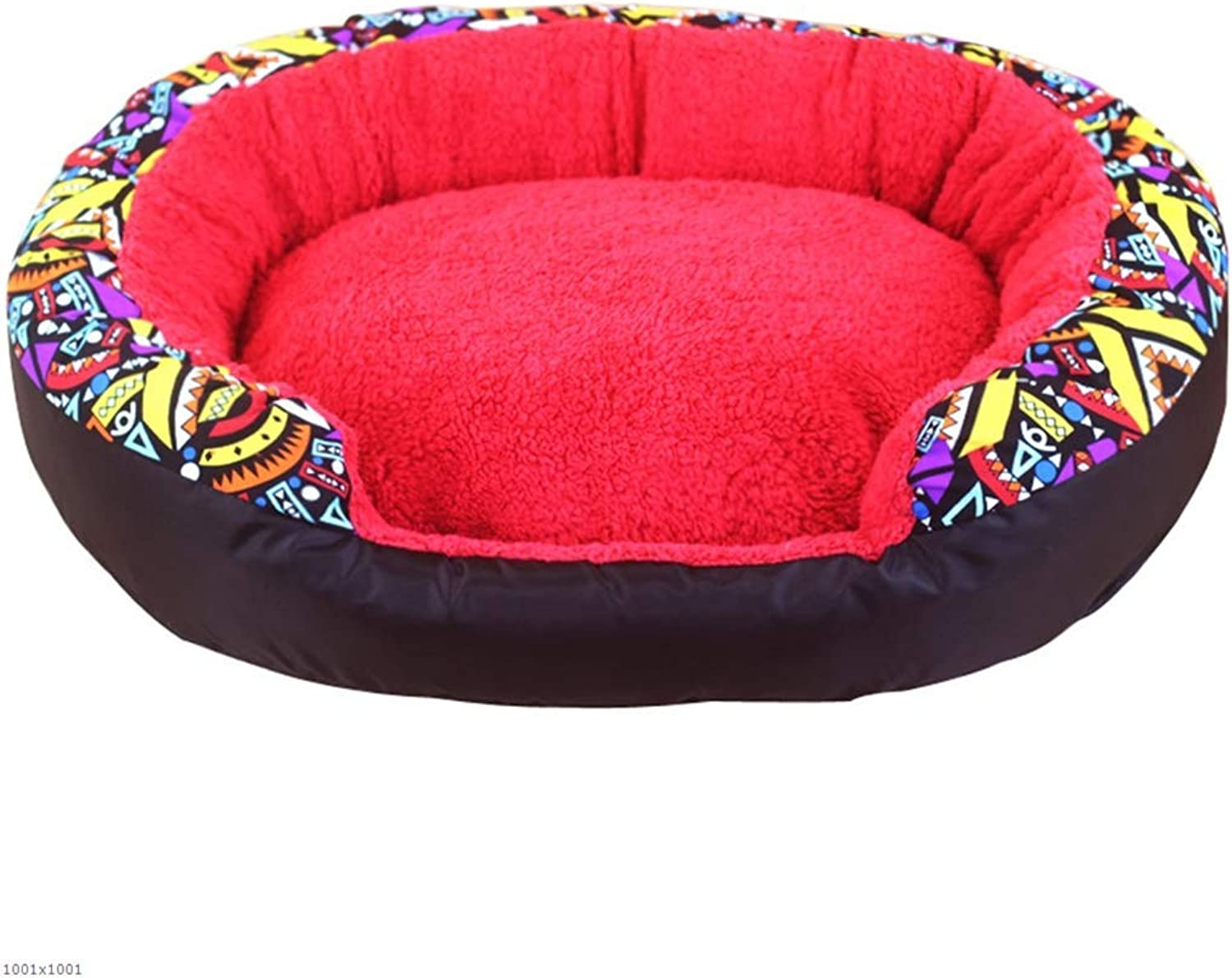 Pet Bed Kennel Warm Washable pet nest Kennel Small and Medium Kennel cat Litter cat House Washable Four Seasons Available,Red,L