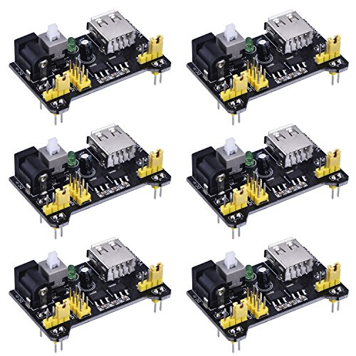 6 Pack Breadboard Power Supply Module for Arduino Board Solderless Breadboard, 3.3 V/ 5 V