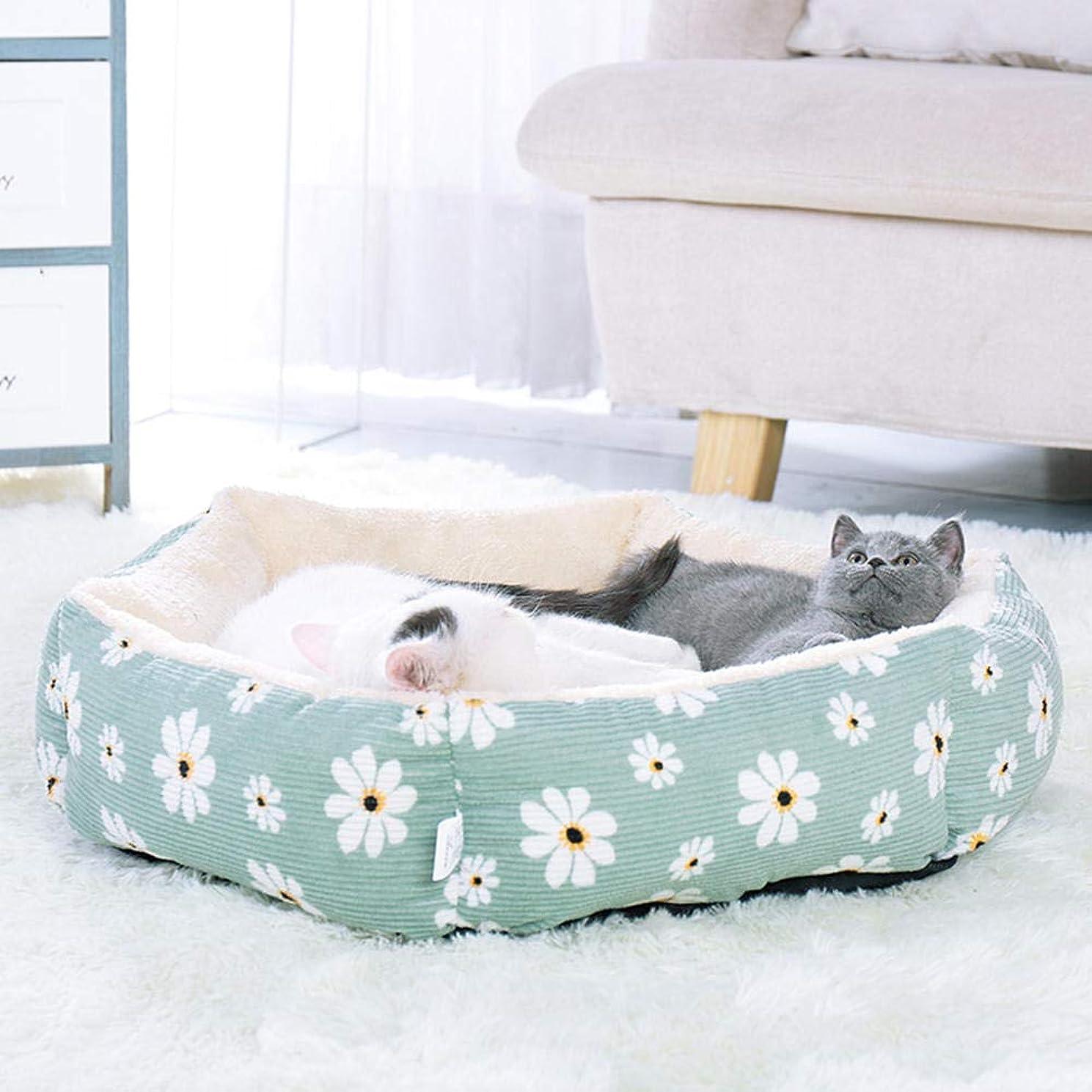 最愛の分析的グラムペットハウス 猫の家 ペット犬猫ベッドハウス六角ペットラウンジャークッション中小犬猫冬犬犬小屋子犬マット暖かいフリースペットベッドグリーンS 37 * 37 * 11センチ