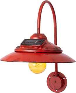TacSeven Solar Light Outdoor, Wall Mount Rustic Vintage Red Decor Barn Light, Waterproof, No Wiring, Décor Lighting for Patio, Garden, Deck, Path, Courtyard