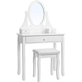 SONGMICS Table, pin, Blanc, Dimensions (LWH): 80 x 40 x 137 cm