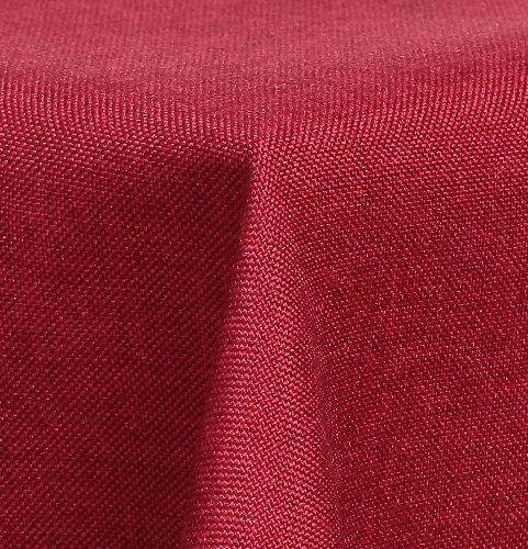 Maltex24 Textil Tischdecke - Leinen Optik - wasserabweisend Eckig 130x220 (Rot, ca. 130 x 220 cm)