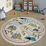 Paco Home Alfombra Infantil Cuarto Infantil Redonda Pelo Corto Carreteras en Beige Pastel, tamaño:Ø 160 cm Redondo