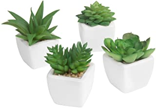 MyGift Set of 4 Modern White Ceramic Mini Potted Artificial Succulent Plants/Faux Plant Home Decor