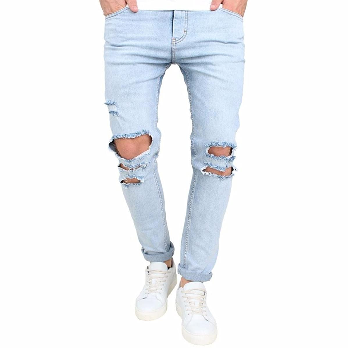 Men Jeans Daoroka Men's Ripped Slim Fit Straight Denim Motorcycle with Broken Holes Younger-Looking Pants