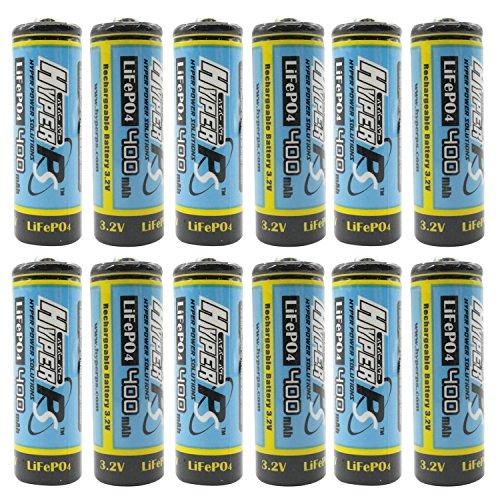 (12-Pack) HyperPS 3.2V LiFePo4 14430 (14 x 43mm) 400mAh Rechargeable Battery for Solar Panel Light, Tooth Brush, Shaver, Flashlight