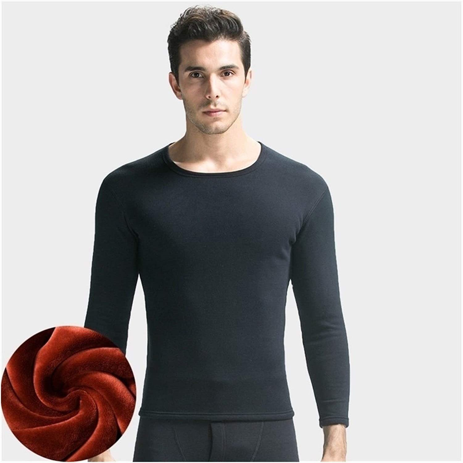 QWERBAM Thermal Underwear Men Sets Fleece Thick Solid Winter Inner Wear Undershirt and Underpants Size L to XXXL (Color : Men Navy Sets, Size : Large)