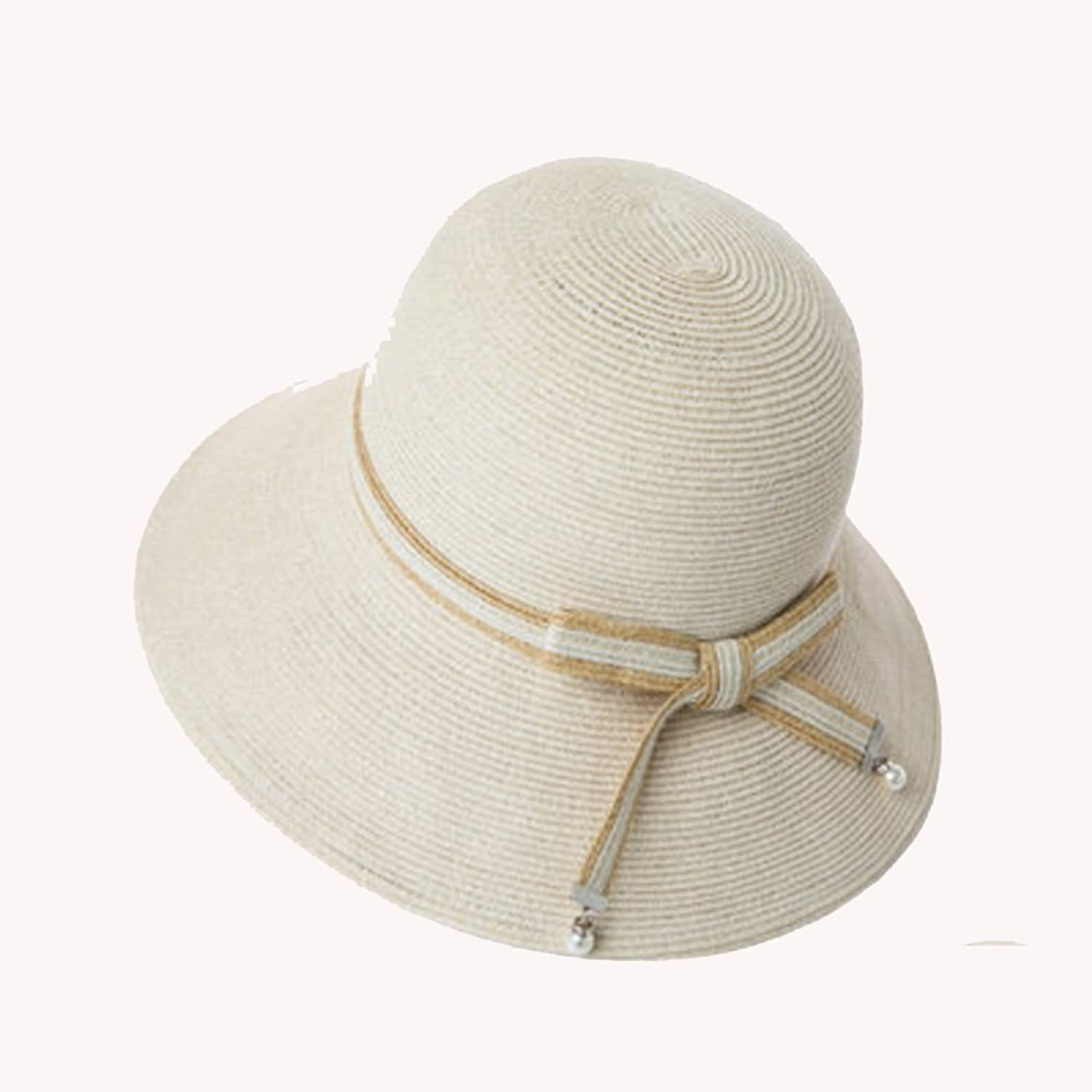 NAN Liang Hat Female Summer Beach Hat Korean Wild Straw Sun Hat Travel Holiday Sun Shade Folding Straw Hat Beige Black White (color   White)