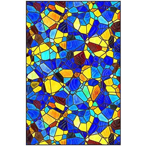 MINYU Decorativa Película De Ventana, Iglesia Europea Colorear Vinilos para Cristales Opaco para Cuarto De Baño Dormitorio Esmerilada Ventana De Privacidad-A11-100x100cm(39x39inch)