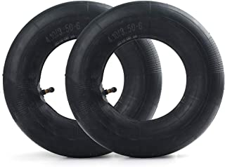 LotFancy 4.10/3.50-6 Inner Tube(2-Pack) for Wheelbarrows, Snow Blowers, Wagons, Carts, Hand Trucks, Lawn Mowers, Tractors and More, with TR87 Bent Metal Valve