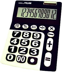 Milan 150912KBL rekenmachine, 12 cijfers, grote knoppen, zwart/wit, klein