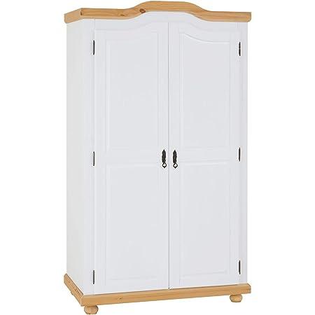 IDIMEX Armoire MÜNCHEN Dressing penderie Rangement vêtements avec 2 Portes battantes 1 étagère intérieure et 1 Tringle, en pin Massif lasuré Blanc