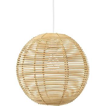 Kouboo Palau Continuous Weave Wicker Ball Pendant Lamp, Natural