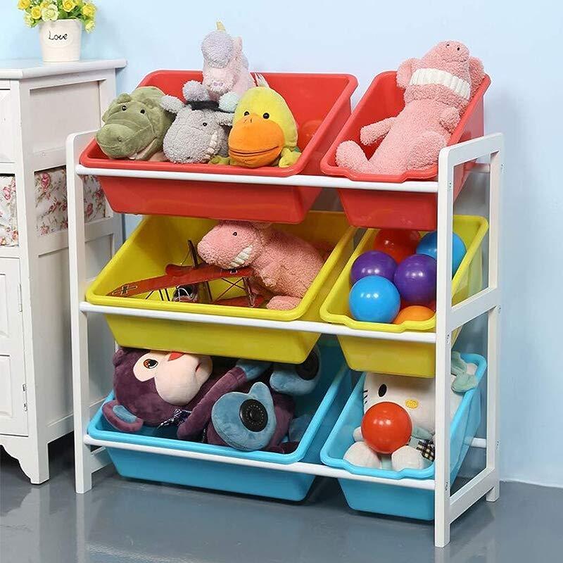 Kids Toy Storage Organizer Bins Toddler S Toy Storage Organizer With Multiple Color Plastic Bins Shelf Drawer For Kid S Bedroom Playroom By Ketteb 6 Bins