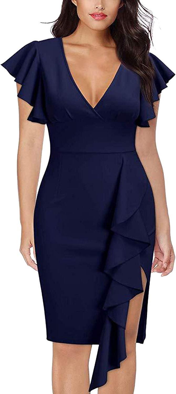 TEWWEY Women's Pencil Dress V Neck Ruffle Slim Dresses Elegant Cocktail Party Midi Dress with Zipper