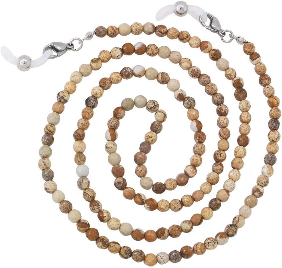 ZYKBB Vintage Natural Stone Glasses Chains Women Men Necklace Strap Non-slip Agate Beaded Eyeglass Holder Neck Eyewear Rope (Color : J)