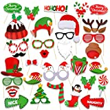 HOWAF Navidad Photo Booth Props, 32pcs Divertidas Mascarillas Selfies Fotos Booth Accesorios para...