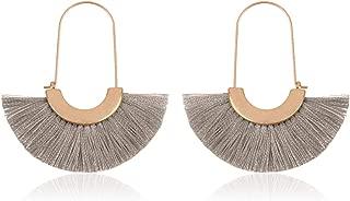 Bohemian Silky Thread Tassel Strand Fringe Statement Hoop Earrings - Lightweight Semi Circle Fan Threader, Mermaid Hoops