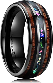 King Will Nature 8mm Tungsten Carbide Wedding Ring Inlaid with Real Wood & Colorful Fragments/Multicolor Opal Engagement Band