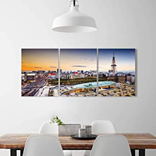 Philiphome 3 Pieces Multiple Pictures Wall Art Frameless nagoya japan city skyline at the tower perfect wall decoration W24 x H35 x 3pcs