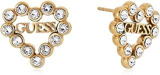 Guess Heart Earrings Romance Gold Plated Stainless Steel Ube70171 Heart Swarovski Logo
