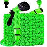 DX-Manguera de Riego RetráCtil Manguera Flexible Regulable de 100pies 30M Con Boquillas,Pistola de Ducha de 8 Funciones,Manguera TelescóPica Ligera para Lava Planta Ducha para Animales Compañía