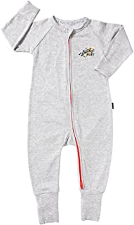 Bonds Baby Wondersuit 2 Way Zipper Sleep and Play Fold Over and Feet Cuffs - Grey - 0-3 Months