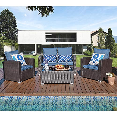 JOIVI Patio Furniture Set, 5 Piece PE Rattan Sectional Outdoor Conversation Sofa Set with Black Wicker, Coffee Table with Tempered Glass, Navy Cushion