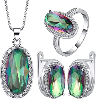 VPbao Crystal Pendant Oval Plated 925 Sterling Silver Jewellery Sets Green