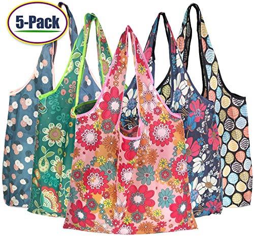 Boyigog 5pcs Bolsas Reutilizables Compras Plegable,Bolsa de Tela para Compras Resistente, Duradero y Ecológicas para Shopping, Supermercado